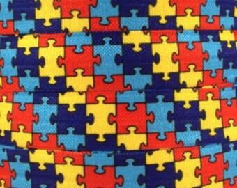 5/8 inch - Autism Puzzle - Fold Over Elastic FOE for Headband