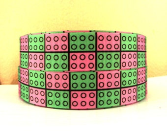 1 inch Pink And Green Lego Like Blocks - Printed Grosgrain Ribbon for Hair Bow