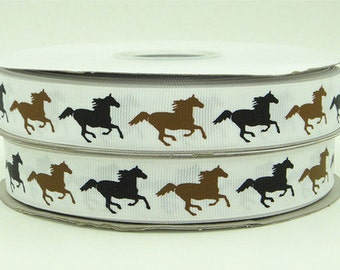7/8 inch HORSES On White - HORSE - COWGIRL - Printed Grosgrain Ribbon for Hair Bow