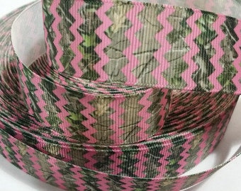 1 inch PINK and CAMOUFLAGE CHEVRON - Printed Grosgrain Ribbon for Hair Bow