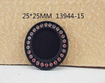 1 Piece 33 mm - 1 inch center - Round Black w/ clear Crystal Frame for Resin Center - 13944-15 - Accent - Flat Back Flatback Cameo