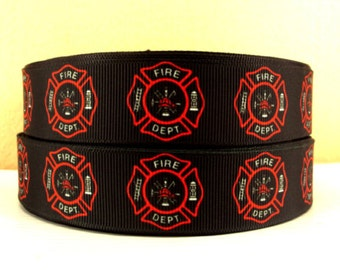 1 inch Fire Department on Black - FIREFIGHTER - FIREFIGHTERS - DEPT - Printed Grosgrain Ribbon for Hair Bow