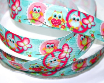 7/8 inch - OWL - OWLS - STYLE 9002 - Printed Grosgrain Ribbon for Hair Bow