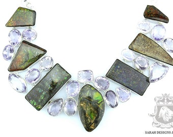 Just Perfect LAVENDER AMETHYST AMMOLITE 925 Solid Sterling Silver Necklace