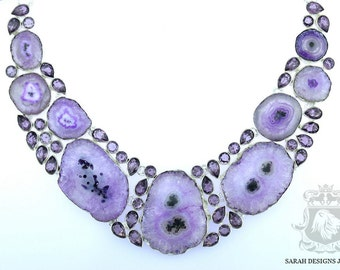AAA Graded AMETHYST STALACTITE 925 Solid Sterling Silver Necklace n303