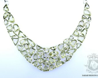 Wow Factor! 387 Carats COMBINED BRAZILIAN CITRINE 925 Solid Sterling Silver Necklace n304