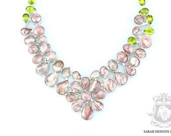 Flower Shaped Top GRADE ARGENTINA RHODOCHROSITE 925 Solid Sterling Silver Necklace n340