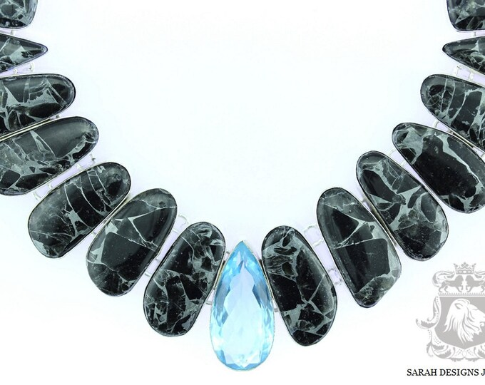 Reduced to Clear! Metaphysical Qualities!! Picasso Jasper Blue topaz QUARTZ 925 SOLID Sterling Silver Necklace