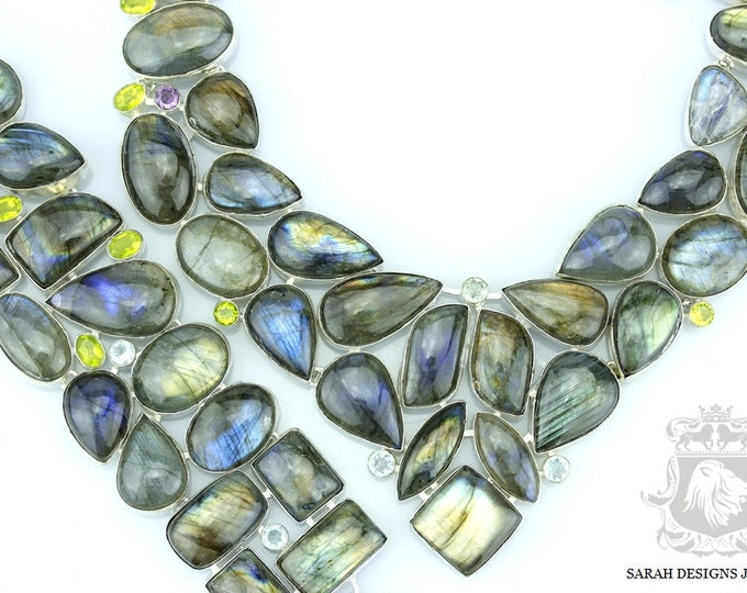 Grab This One CANADIAN Blue FIRE LABRADORITE 925 Solid Sterling Silver Necklace Set 160