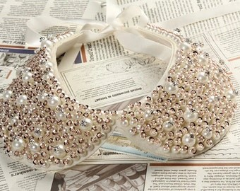 Beaded lace Collar Appliques,Pearl Collar For DIY Dress,1 piece(115-1)