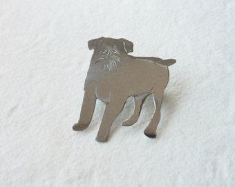 Vintage Silver  Dog Brooch - 1970's Vintage Pin - Free UK Delivery