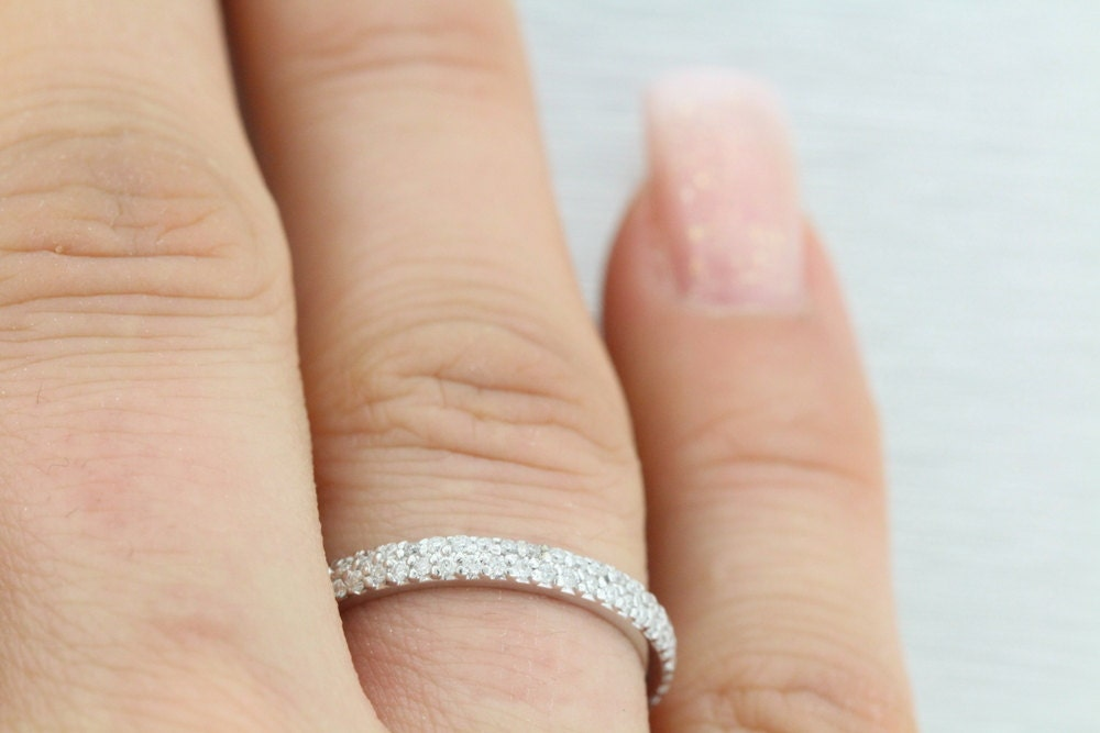 Description Amazing Looking Douple Row Micro Pave Round Band