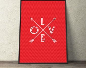 Custom Home Decor- L O V E Arrows with Chevron Background Wall Art