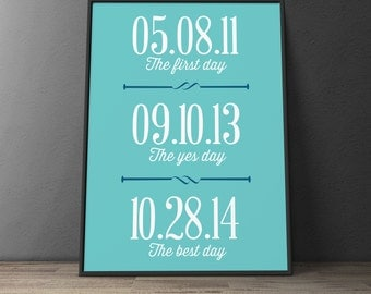 Custom Home Decor- The first day The yes day The best day Dates Wall Art
