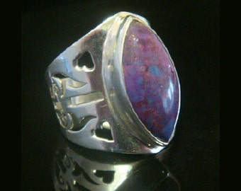 Sterling Silver Ring with Purple Jasper Gemstone. Simply Stunning 925 Sterling Silver Ring 124 with Exquisite Design, Size 8.75