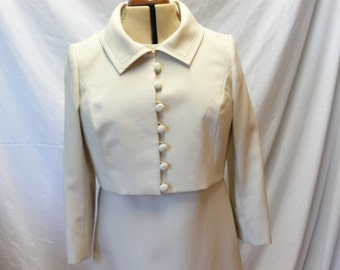 1960s Vintage Peggy French Couture Ecru Two Piece Dress With Jacket