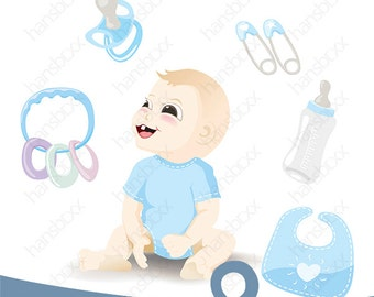 Baby boy and baby items
