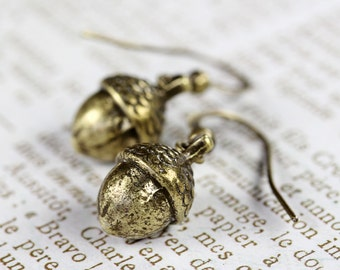 Brass Acorn Dangle Earrings