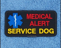 Medical Alert Service Dog Patch Size 2x4 inch Black Danny LuAnns Embroidery