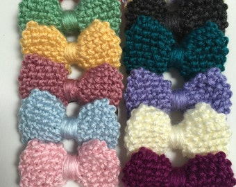 Hand Knit Bow Hair Tie