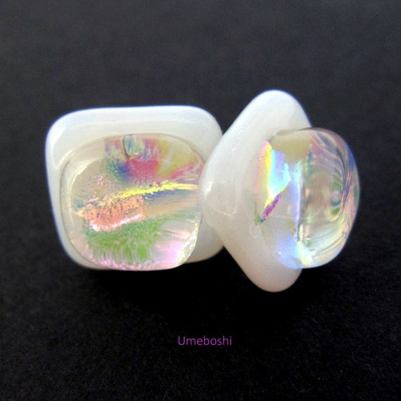 "Dichroic Glass Post Jewelry Earrings in White and Iridescent Rainbow Squares Sterling Silver Post ""Moonshine"" Handmade Studs"