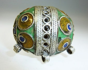 Enameled Traditional Kabyle Metal Bead from Morocco