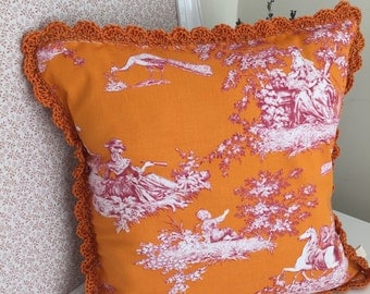 "Clementine and pink toile de jouy 16"" cushion (IN STOCK)"