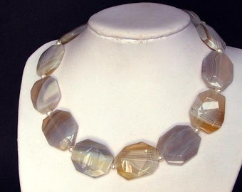 Necklace Yellow Botswana Agate 32mm Flat Facet 925 NSAW2011