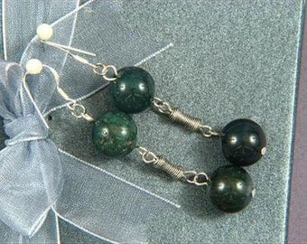 Earrings 2X Moss Agate 12mm Round Beads 925 ESAM1186