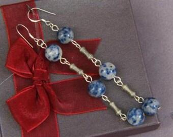 Earrings 3X Sodalite 10mm Round Beads 925 ESSD1748