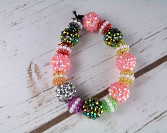 pink and green acrylic beads bracelet, colourful bracelet, elastic bracelet, Uk seller