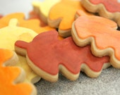 "1 Dozen Decorative 4"" Shortbread Cookies - Fall Leaves"