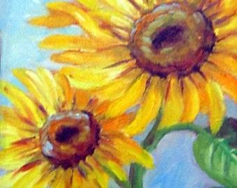 Sunflowers III, floral, garden flowers, original art, 8 x 10, oil painting