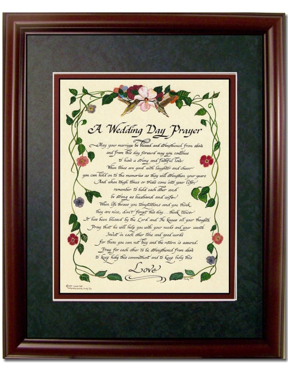 Wedding Gifts For Christian Bride : Christian Wedding Day Prayer framed and matted calligraphy poem gift ...
