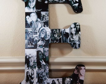 18 Inch Custom Photo Collage, Photo Collage Letter, Photo Collage on Wood, Photo Collage Gift, Personal Collage, Custom Photo Letters