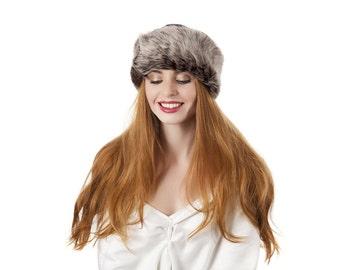 100% sheepskin winter hat -dark brown and cream fleck
