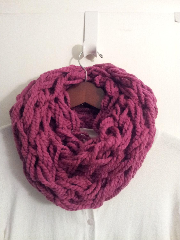 Infinity Scarf Knitting Pattern Garter Stitch : Infinity Scarf in Raspberry knit stitch garter by TheScarfFarm