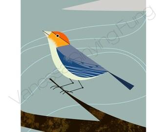 "Snow Mountain Winter Bird art print Orange Yellow navy Gray wall decor Charles Haper Inspired Elegant Illustration 8.5"" X 11"" Letter size"