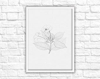 Black & White Nature Flowers Sketch Print - Instant Download - Printable Wall Art Decor
