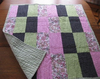 Pink, Green and Black  baby quilt or lap quilt.