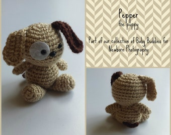 Puppy Stuffed Toy ~ Stuffie ~ Newborn Photography Props ~ Toy ~ Amigurumi - Newborn Toy Prop - Newborn Animal Props - Stuffed Dog Prop -