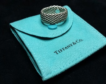 Tiffany & Co. Sterling Silver Authentic Wide Somerset™Mesh Ring Flexible