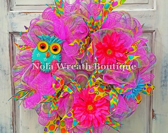 Owl and Pink Flower Wreath
