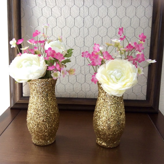 Gold glitter vase set of wedding by