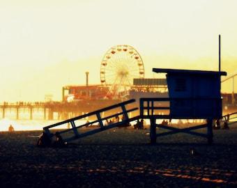 Santa Monica Beach Pier Ferris Wheel Lifeguard Station Sunset Los Angeles California Pier Shadow Fine Art Photograph Print Photography