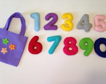 "Big 4"" felt numbers-Mathematical game- Educational toy-babies first numbers"