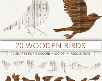Wooden birds clipart,bird clip art,birds silouette,scrapbook,birds,background,bird decoration,bird image BIRD1