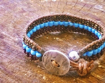 Women Handmade Bracelet with Brown, Light Blue and Gold Beads. Leather 3 rows Bracelet.