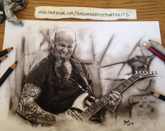 Hand Drawn Charcoal Pencil Drawing ' Scott Ian - Anthrax' Size A4