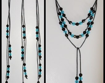 Gorgeous Mane and Tail Beads for Horses!  Bling Tack,  Arabian, AQHA,  Friesian, etc.  TURQUOISE & BLACK  **New**